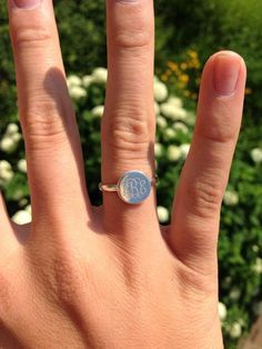 Monogrammed Sterling Silver Ring in Audrey