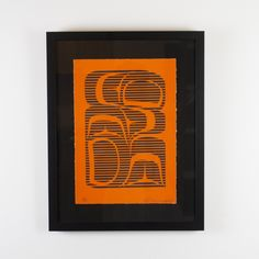 """Discord Orange by John Bennett (Haida) Limited edition lithograph #/37 9 1/2"""" x 13 1/2 $225 framed - Discord is a quintessential example of Bennett's aspirations to reconcile traditional Haida design and the new techniques he learned during his time at Emily Carr and Concordia. This is an example of his experimentation with visual effects by contrasting colours and form line design."""
