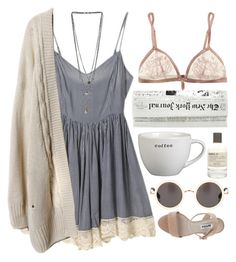#spring #summer #dress #cardigan #sandals #sunglasses #bralette #necklace