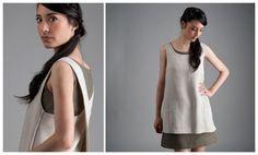 Linen Apron Dress - beige Linen Apron Dress, Tunic with pockets