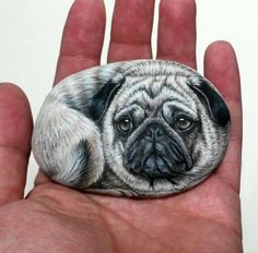 Pug dog hand painted with acrylics on stone! Detailed miniature painting on natural sea stone, animal painting, dog painted stone, dog art 3d Painting, Pebble Painting, Stone Painting, Painted Rock Animals, Hand Painted Rocks, Painted Stones, Rock Painting Patterns, Rock Painting Designs, Old Pug
