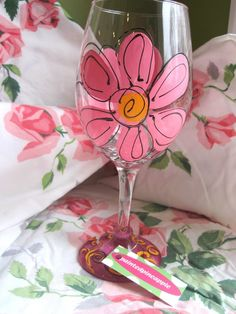 Wine Glass...Pink Flower