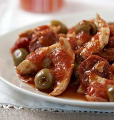 Fried chicken with chorizo, olives and tomatoes - Ôdélices cooking recipes - Recettes - Chicken Recipes Easy Healthy Recipes, Meat Recipes, Healthy Snacks, Chicken Recipes, Easy Meals, Cooking Recipes, Easy Cooking, Healthy Cooking, Food Inspiration