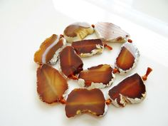 1/2 Strand-- Brown and White Agate Slab nuggets | SugarlandGems - Jewelry Supplies on ArtFire