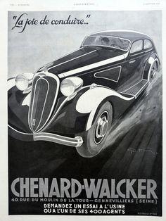 CHENARD WALCKER automobiles poster, original ad vintage advertisement from the… Magazine L, French Magazine, Vintage Ads, French Vintage, Vintage Posters, Art Deco Posters, Car Posters, Buick, Photos Originales