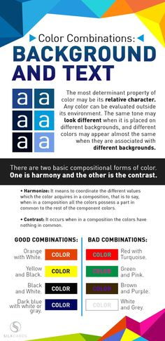 Combine colors like a pro designer! Background / text colors work best when they have a lot of contrast. Click to blog for more color tips on infographics. Perfect for small business branding and visual marketing!