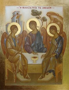 Holy Trinity by Federico José Xamist Byzantine Icons, Byzantine Art, Luke The Evangelist, Trinidad, Renaissance Paintings, Chile, Religious Icons, Art Icon, Orthodox Icons