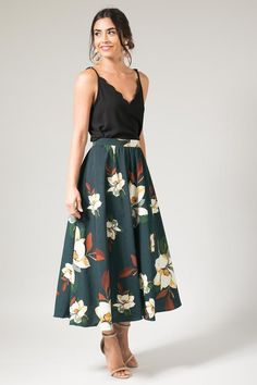 c23102b60 A beautiful, evergreen skirt is adorned with large magnolia flowers. This  skirt is fully