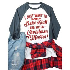 bdb318628d6b LMart - LMart Women CHRISTMAS MOVIES Long Sleeves Color Block Tops T-shirt  - Walmart. Walmart.com