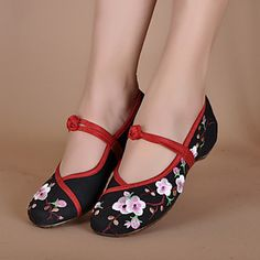 Women's Shoes Canvas Flat Heel Round Toe Flats Casual Black/Ivory