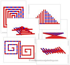 Printable Pattern Cards for the Montessori Red Rods and Number Rods.
