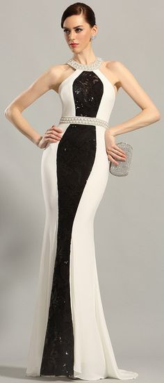 Halter neck white and black fitted formal prom wear Classy Evening Gowns, Evening Dresses, I Dress, Dress Outfits, Fashion Outfits, Classy Outfits, Stylish Outfits, Xmas Party Dresses, Kaftan