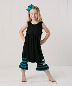 Another great find on #zulily! Black Ruffle Sleeveless Dress Set - Infant, Toddler & Girls #zulilyfinds