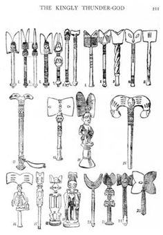 Instruments of Shango worship. Osé or Oshé-Shango dance clubs, with upper portions decorated with heads and thunderbolts in combination. • double-headed axe (Notable features) • figurated handle (Notable features) • oshe Shango (Object name, type) • Shango staff (Object name, type) • ceremonial club (Object name, type) • dance wand (Object name, type) • Yoruba (Style, culture group)  Frobenius 1913