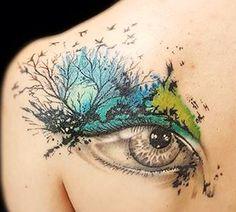 My tattoo Done by Blue Magic Pins Tattoo Shop @genk,belgium ❤️ Trash polka style , eye ,trees,birds