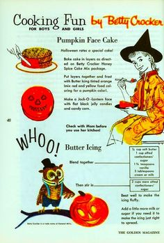 Halloween 1964 - The Golden Magazine. Cooking Fun for Boys and Girls by Betty Crocker halloween kids Halloween Vintage, Halloween Tags, Vintage Halloween Decorations, Vintage Holiday, Holidays Halloween, Halloween 2018, Halloween Party, Halloween Stuff, Halloween Costumes