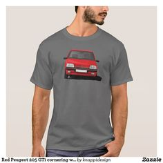 Red Peugeot 205 GTi cornering without badge t-shirt. Red cornering Peugeot 205 GTi with a GTi badge. Peugeot 205 Gti, T Shirts, Funny Tshirts, T-shirt Logo, Tee Shirt Homme, Herren T Shirt, Bling Bling, Tshirt Colors, Shirt Style