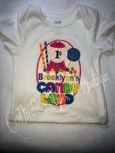 Candyland embroidered shirt Candy Land Shirt by DivaStylesBowtique