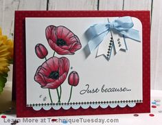 Such a pretty card Michelle Woerner created with the Budding Poppies stamp set (from TechniqueTuesday.com). Love how she colored the flowers. They really pop!