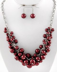 Jewelry - Wine Pearl Cluster Necklace Set - $14.95