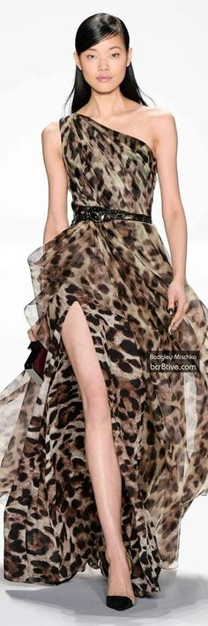 Vestido largo abertura animalprint