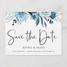 Elegant Dusty Blue Navy Floral Save the Date Announcement Postcard - cards custom invitation card design marriage party Wedding Invitations With Pictures, Handmade Wedding Invitations, Beautiful Wedding Invitations, Save The Date Invitations, Save The Date Postcards, Floral Wedding Invitations, Elegant Wedding Invitations, Save The Date Cards, Wedding Stationery