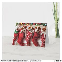 Puppy-Filled Stocking Christmas Card Dog Christmas Presents, Merry Christmas Card, Christmas Photo Cards, Christmas Dog, Christmas Photos, Christmas Greetings, Christmas Stockings, Xmas, Christmas Stationery