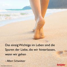 Das einzig Wichtige im Leben sind die Spuren der Liebe, die wir hinterlassen, wenn wir gehen. - Albert Schweitzer