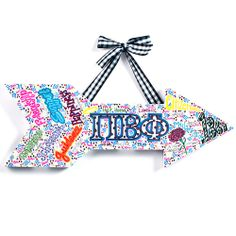 Mini Pi Beta Phi Wallhanger by GreekStitchLetters on Etsy