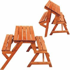 New 2 In 1 Folding Wooden Bench + Foldable Wood Picnic Table Garden Seater