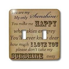 You Are My Sunshine in Brown- Word Art- Vintage Song - Light Switch Covers - double toggle switch - Amazon.com