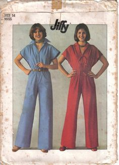 Vintage Simplicity's  Factory Folded Misses' Jumpsuit  Pattern 7922 Size 14 Bust 36 circa 1977 by EvaStAlbans on Etsy