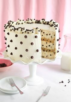 Chocolate Chip Cookies and Milk Cake   Sprinkle Bakes http://ibaketoday.blogspot.com