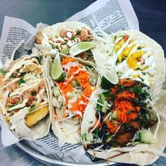 Honestly have you ever seen variety like this? Street Tacos, Fish Tacos, Fresh Rolls, Ethnic Recipes, Food, Essen, Meals, Yemek, Eten