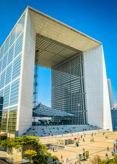 Grande Arche La Défense, 111m tall, built in an axe with Arc de Triomph which is about 5 km long. Carrara Marble and Glass, Johan Otto von Spreckelsen | Postmodern architecture. Not an Arch but a cube.