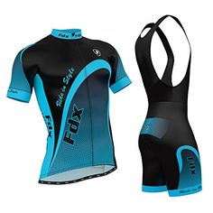 FDX Men's Cycling Jersey Half Sleeve Top Racing Team Biking Top   Bib Shorts Set Blue X-Large Learn more by visiting the image link.