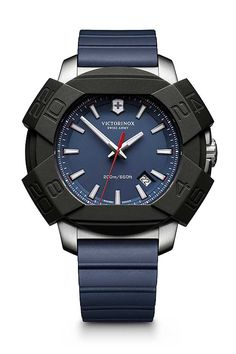 The @victorinoxag Swiss Army Inox shown with navy blue dial and matching rubber strap. More at: http://www.watchtime.com/wristwatch-industry-news/watches/victorinox-swiss-army-watches-anniversaries/2/ #victorinox #watchtime #menswatches