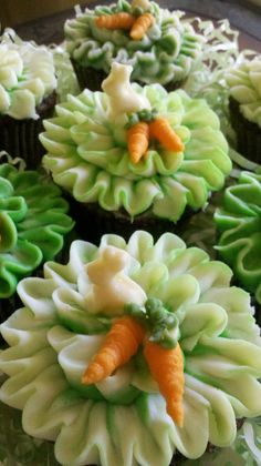 Carrot Cupcakes with White Chocolate Cream Cheese Butter-Cream.