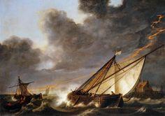 Albert Cuyp - Schepen zwalkend in een storm