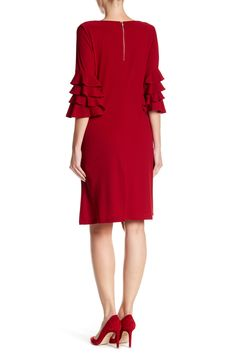Gabby Skye - Tiered 3/4 Length Sleeve Crepe Dress is now 56% off. Free Shipping on orders over $100.