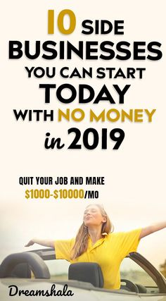 10 side businesses you can start today with no money in Own Business Ideas, Start A Business From Home, Work From Home Jobs, Starting A Business, Online Business, Business Products, Creative Business, Earn Money From Home, Earn Money Online