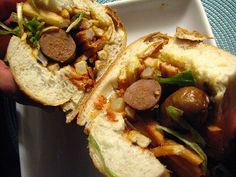 Sandwich de Merguez / Merguez Frites with Fried Leeks and French Fries by SeppySills, via Flickr