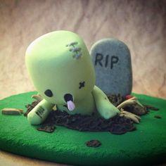 Zombie Marshfellow ||| clay, toy, doll, house, marshmallow, sculpture, Halloween, decor