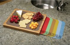 Shop for Seville Classics Bamboo Cutting Board with 7 Color-Coded Flexible Cutting Mat Set with Food Icons. Get free delivery On EVERYTHING* Overstock - Your Online Kitchen & Dining Shop! Best Cutting Board, Bamboo Cutting Board, Cutting Boards, Bamboo Board, Chopping Boards, Wood Cutting, Kitchen Knives, Kitchen Gadgets, Kitchen Stuff