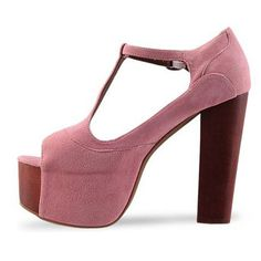 Peep Toe T Strap PU Pink Chunky High Heel Sandals