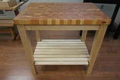 Maple Butcher Block Kitchen Cart with Cherry Top by McClure Tables