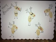 Christmas fingerprints reindeer card