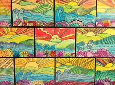 Line drawings with seascapes-- interesting-- love the colors