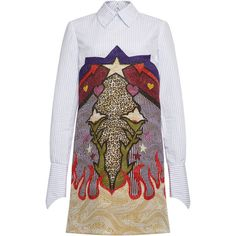 Mary Katrantzou Steal Print Jacquard Shirt Dress ($1,580) ❤ liked on Polyvore featuring dresses, jacquard print dress, striped shirt dress, cowboy dress, shirt dress and graphic dresses