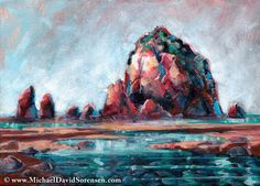 """""""Afternoon Light at Haystack Rock"""" - Acrylic painting by Michael David Sorensen. This is Haystack Rock in Cannon Beach, Oregon.   http://www.michaeldavidsorensen.com/originals/afternoon_light_haystack_rock.cfm"""